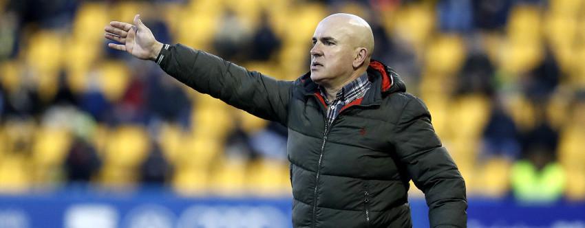 Luis César Sampedro, en el partido disputado en el Estadio de Santo Domingo de Alcorcón | <em><strong>Foto: LaLiga</strong></em>