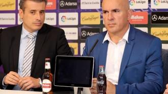 MIguel Ángel Gómez y Luis Cesar Sampedro, en la presentación del gallego | Foto: RealValladolid.es