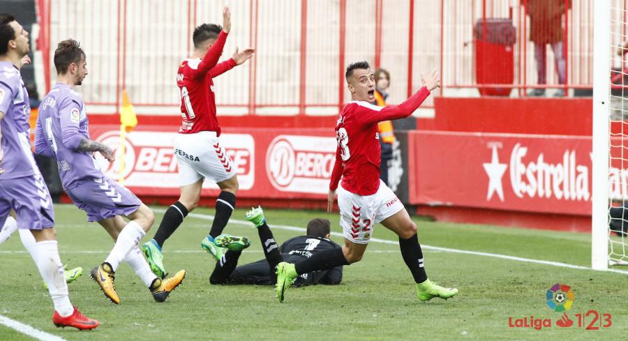 El Gimnàstic de Tarragona celebra el tanto de la victoria sobre el Real Valladolid | <em><strong>Foto: LaLiga</strong></em>