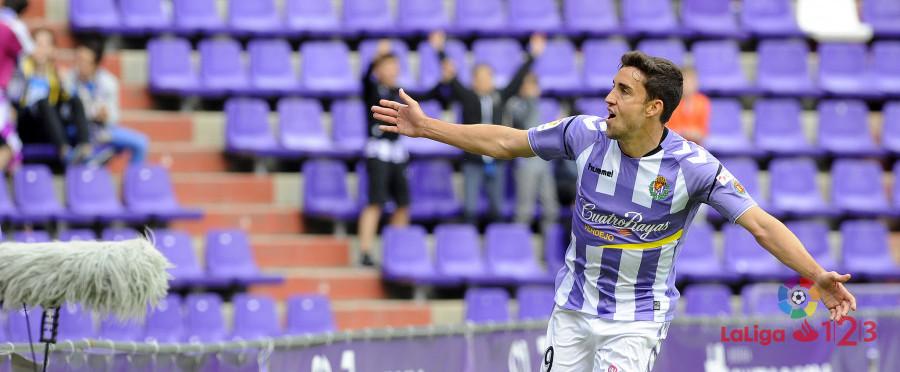 Jaime Mata celebra el segundo gol anotado al Albacete Balompié este sábado | <em><strong>Foto: LaLiga</strong></em>