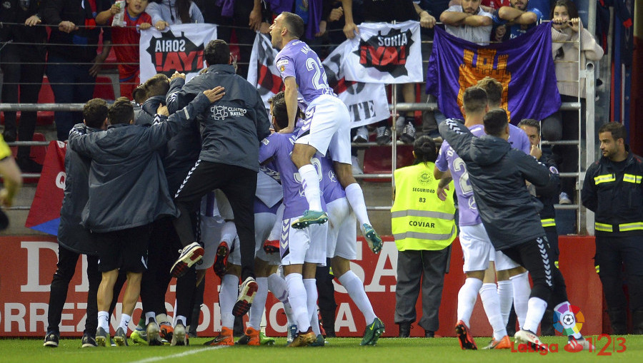 Los jugadores del Real Valladolid celebran el gol de Pablo Hervías en Soria | <strong><em>Foto: LaLiga</em></strong>
