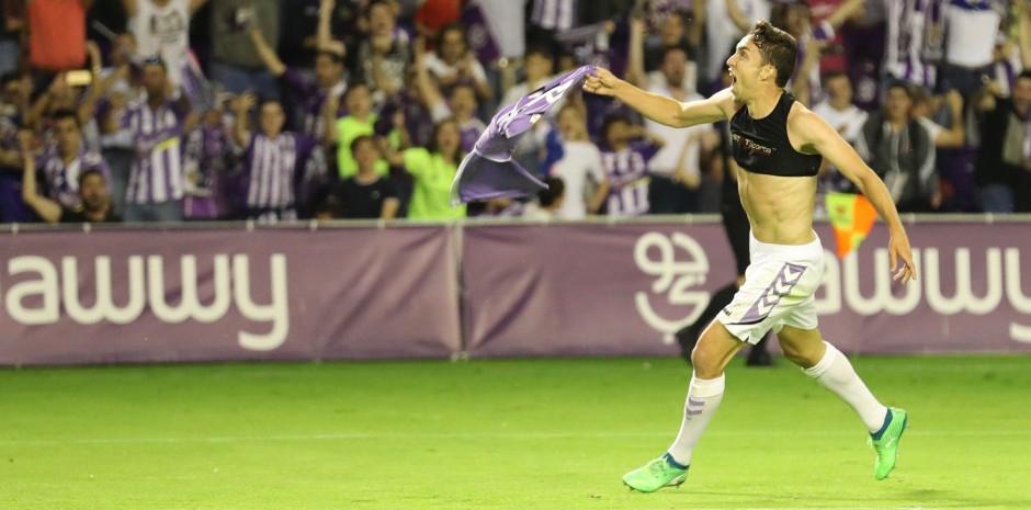 Jaime Mata celebra su último gol como jugador blanquivioleta | <em><strong>Foto: Ángel Becerra | RealValladolid.es</strong></em>