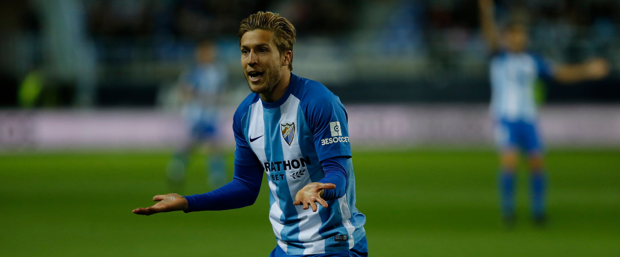 Keko Gontán, en un encuentro de la pasada temporada con el Málaga CF | <em><strong>Foto: CapitalDeporte</strong></em>