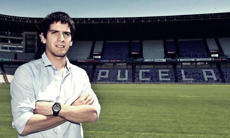 Juan Ángel Neira, en el Estadio José Zorrilla en su presentación con el Real Valladolid   <em><strong>Foto: ElFútbolesNuestro</strong></em>