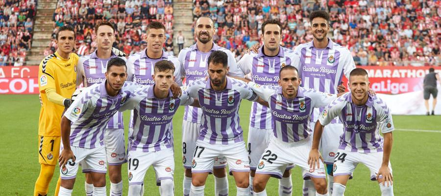 Once titular del Real Valladolid en el estreno liguero de la temporada en el Estadio de Montilivi | <em><strong>Foto: LaLiga</strong></em>