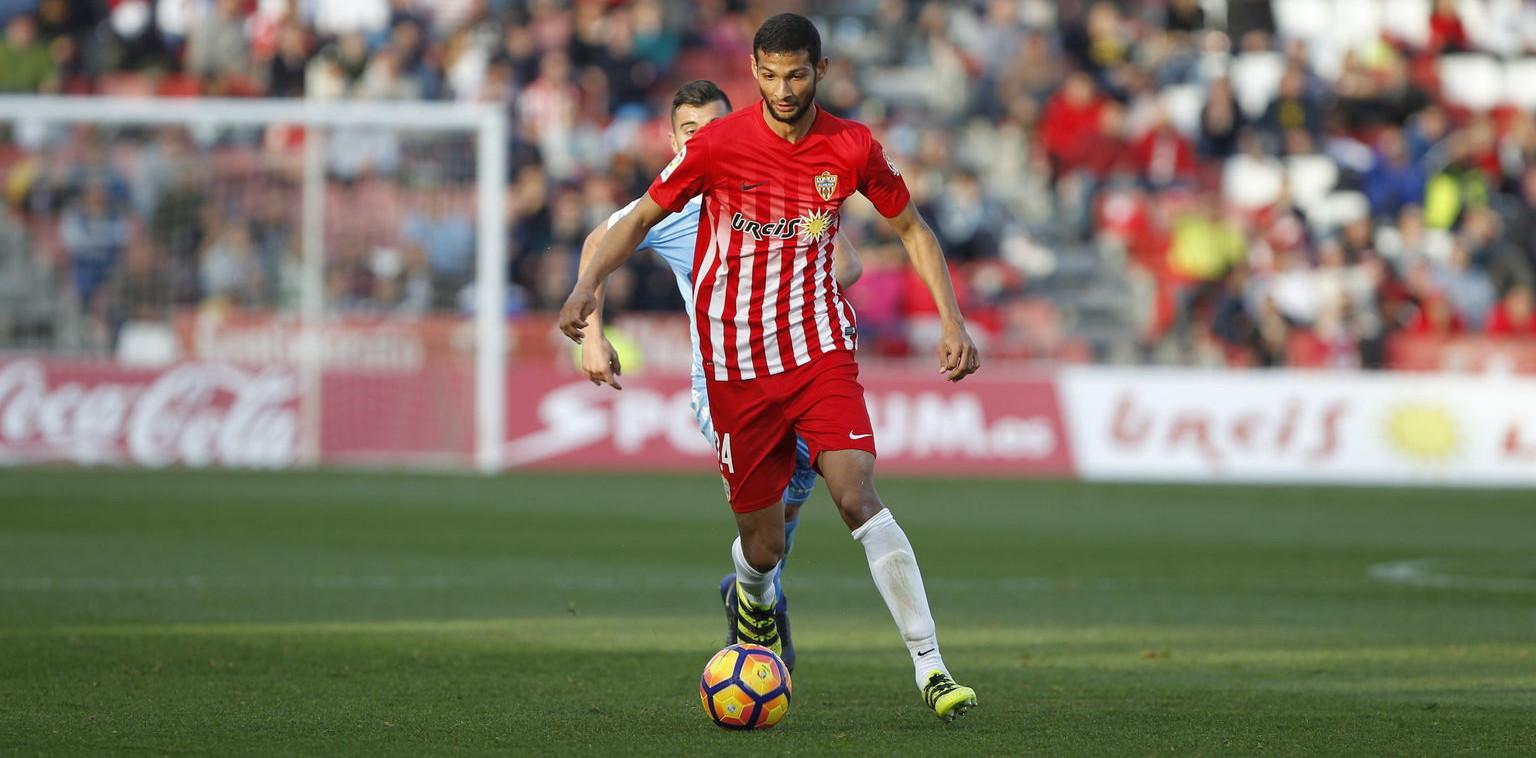 Joaquín Fernández, en un partido la temporada pasada con la Unión Deportiva Almería | <em><strong>Foto: ElDiariodeAlmería</strong></em>