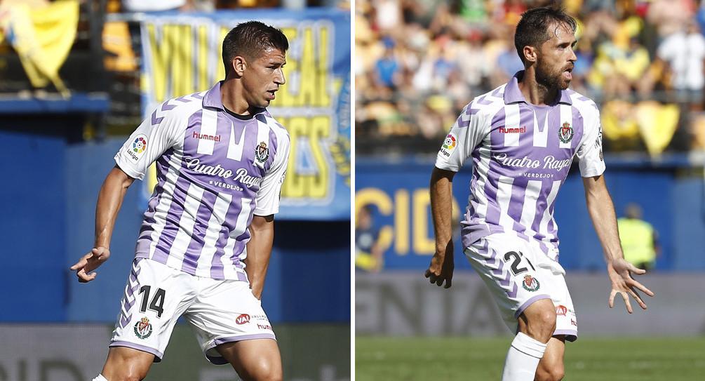 Rubén Alcaraz y Míchel Herrero, en dos acciones del partido en el Estadio de la Cerámica | <em><strong>Fotos: RealValladolid.es</strong></em>