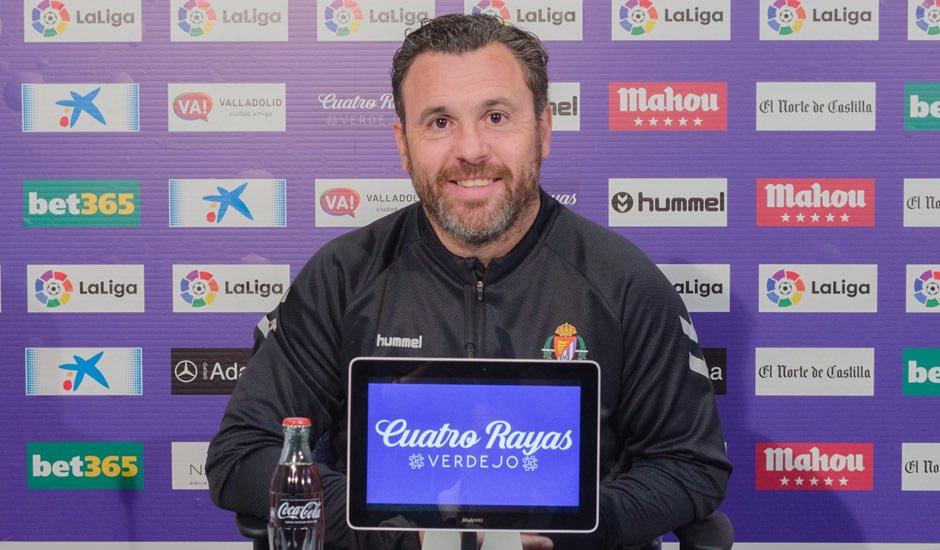 Sergio González, en una rueda de prensa en el Estadio José Zorrilla | <em><strong>Foto: RealValladolid.es</strong></em>