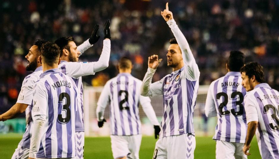Óscar Plano celebrando el gol anotado en Copa del Rey ante el RCD Mallorca | <em><strong>Foto: RealValladolid.es</strong></em>