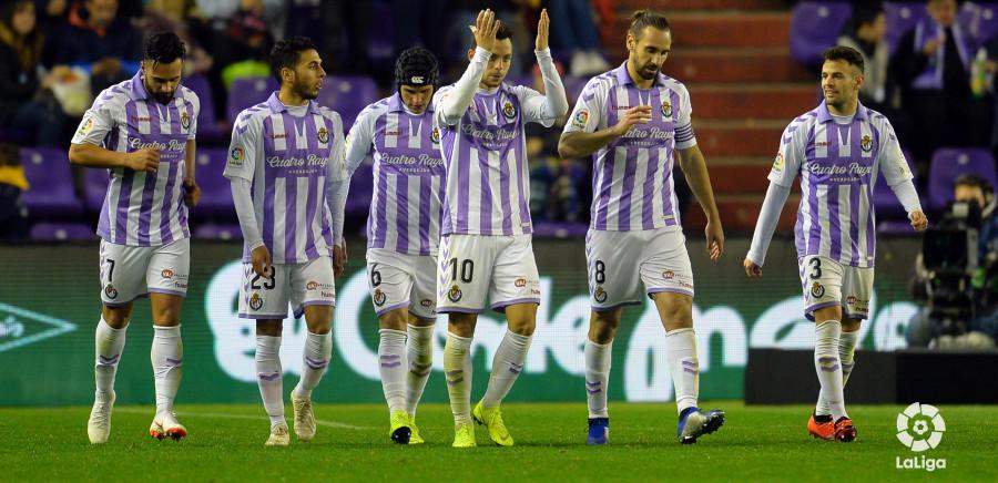 El Real Valladolid celebra el gol del empate copero ante el RCD Mallorca, obra de Óscar Pano | <em><strong>Foto: LaLiga</strong></em>